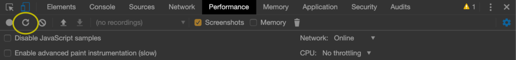 The Reload button in the Performance Tab